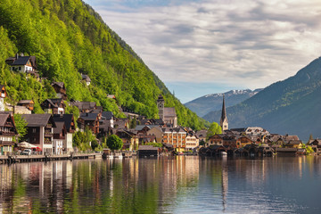 Hallstatt Austria, Nature landscape of Hallstatt village with lake and mountain Wall mural
