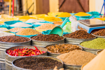 Coffee beans and spices from a moroccan market in the Medina of Fes Morocco
