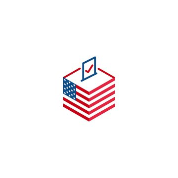 2020 election day in USA, voting president. Vector logo icon template