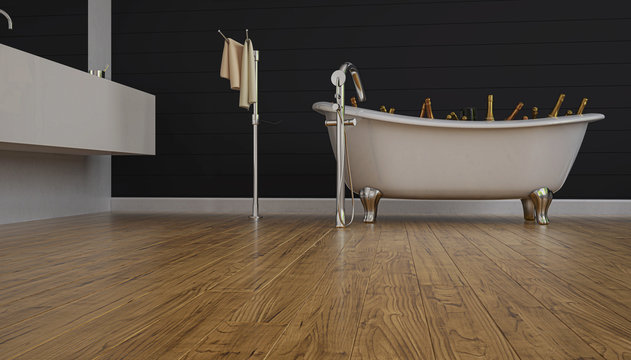 Bathtub filled with ice with sparkling wine bottles, champagne inside a bathroom with wooden floor, 3d rendering, 3d illustration