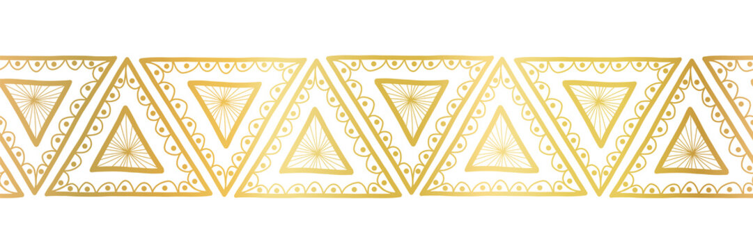 Gold foil triangles seamless vector border. Boho style pattern hand drawn tribal ethnic motifs. Geometric repeating background. Triangle shape repeat tile for elegant banners, cards, party invitations