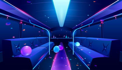 Party bus inside. Vector cartoon illustration of empty limousine nightclub interior with neon disco lights, bar and comfortable seats for celebration birthday, wedding or festival