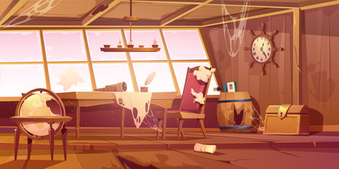 Foto op Aluminium Schip Abandoned pirate ship cabin. Vector cartoon illustration of empty destroyed interior of old wooden room with broken furniture and windows, messy walls with spiderweb. Scary Halloween background