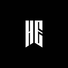 HE logo monogram with emblem style isolated on black background