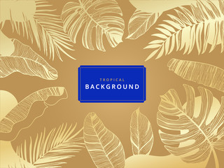 Wall Mural - Gold tropical leaf palm pattern  luxury background vector.