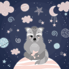 Foto op Canvas Bestsellers Kids Cute racoon in space.