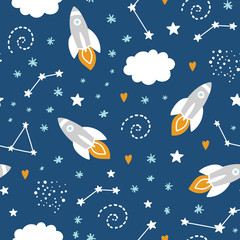 Deurstickers Bestsellers Kids Seamless pattern with rocket and stars in space