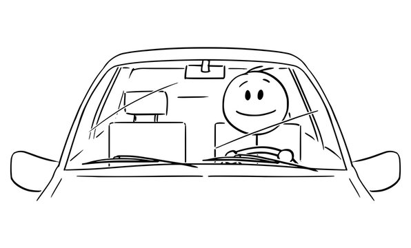 Vector cartoon stick figure drawing conceptual illustration of happy smiling man or driver enjoying driving a car. Front view.
