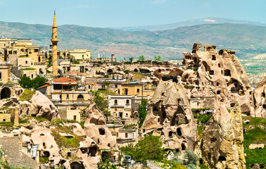 View of Uchisar from Pigeon Valley in Cappadocia, Turkey
