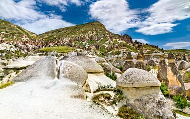 Fairy Chimney rock formations in Cappadocia, Turkey