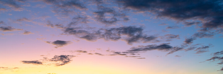 Wall Mural - Colorful sky with clouds at sunset, nature panoramic background