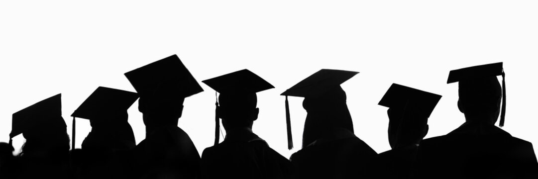 Silhouettes of students with graduate caps in a row isolated on white panoramic background. Graduation ceremony at university web banner.