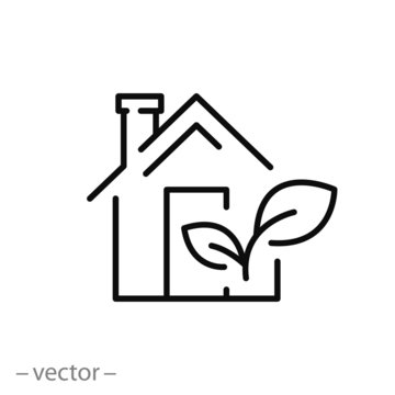 eco house icon, logo green energy in home, environmental clean building, greenhouse concept, modern ecology architecture, thin line symbol on white background - editable stroke vector illustration