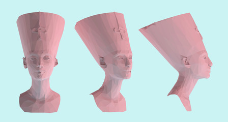 Pastel Egyptian Queen Nefertiti. Set of Pink Cleopatra Sculptures on Pastel Blue Background. Low Poly Vector 3D Rendering