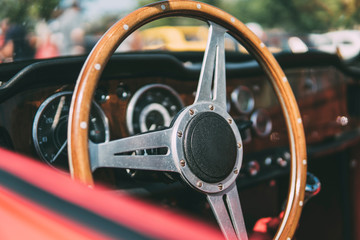 Wooden steering wheel, vintage car