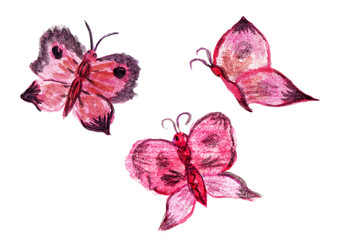 Three watercolor pink and black butterflies. Abstract illustration, rough draft sketch, childlike drawing of insects