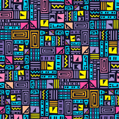Photo sur Toile Style Boho Abstract geometric modern hand-drawn seamless pattern. Vector multicolored authentic ornament. Use for clothing, home decoration, packaging and covers.