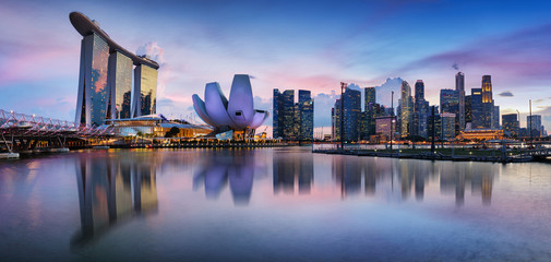 Autocollant pour porte Fleur Singapore panorama skyline at night, Marina bay