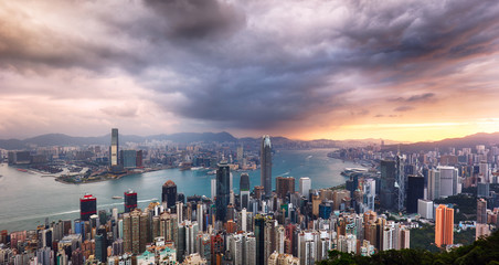 Hong Kong panorama - dramatic sunrise from Victoria peak
