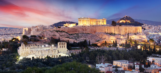 Photo sur Toile Con. Antique The Acropolis of Athens, Greece, with the Parthenon Temple