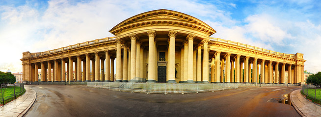 Summer sunny evening at the Kazan Cathedral in St. Petersburg, Russia