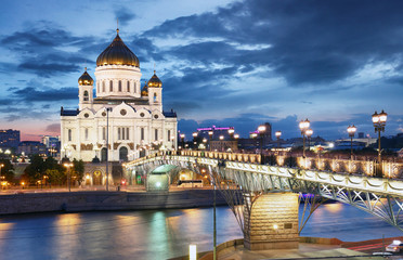 Autocollant pour porte Fleur Moscow - Cathedral of Christ the Savior, Russia at night