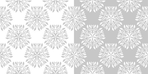Floral gray seamless backdrops. Monochrome backgrounds compilation