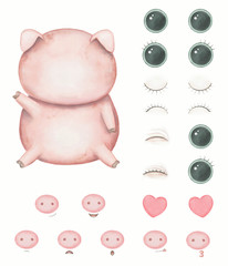 Creator with kawaii cartoon cute pig with versions with different emotions isolated on white background. Watercolor hand drawn illustration