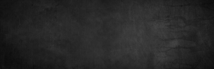 Fototapete - Blank wide screen Real chalkboard background texture in college concept for back to school panoramic wallpaper for black friday white chalk text draw graphic. Empty surreal room wall blackboard pale.