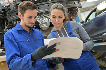 Young people in car industry training