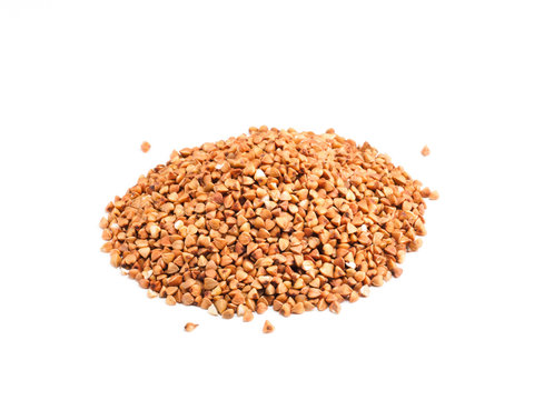 Buckwheat groats on white background. Slimming concept