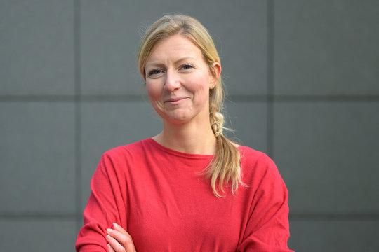 Smiling woman front portrait