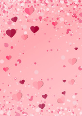 Vector illustration background with hearts. Beautiful confetti hearts falling on background. Invitation Template Background Design