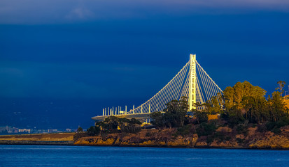 Fototapete - White Bridge on Blue Sky over Treasure Island
