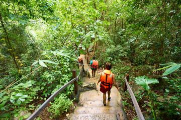 Stairway through Jungle to Kayangan Lake, sweetwater lake on Coron Island - Palawan - Philippines
