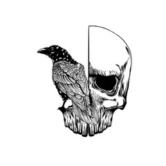 Poster Crâne aquarelle Crow on skull isolated on white. Hand drawn vector art. Sketch vector illustration. Vector vintage illustration. tattoo design.