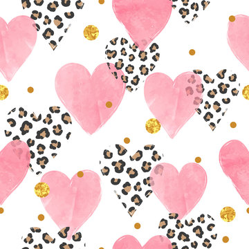 Abstract pink watercolor hearts pattern with leopard print. Valentines Day seamless background.