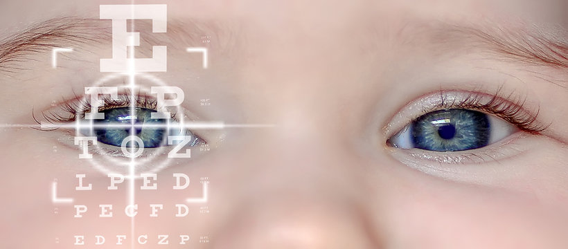 Close up of an Baby eye and vision test