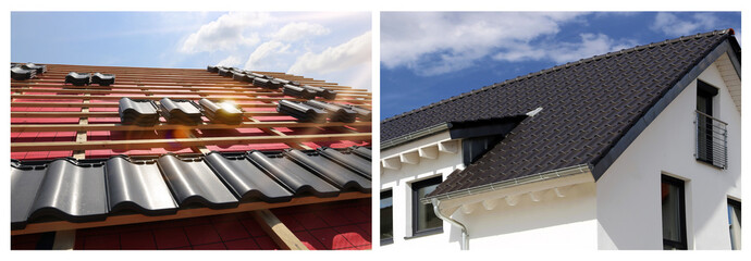 Collage with various roofing pictures
