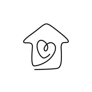Heart inside the house, love and family symbol, Valentine's Day, greeting card, continuous line drawing, tattoo, print for clothes and logo design, isolated abstract vector illustration.