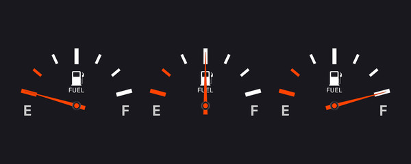 Set of Fuel gauge scales. Fuel meter. Fuel indicator. Gas tank gauge. Oil level tank bar meter. Collection Fuel gauge speedometer on a white background