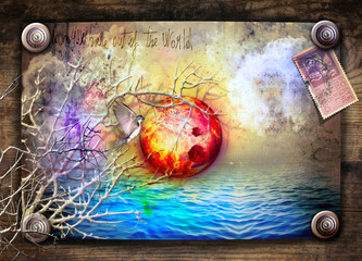 Spoed Fotobehang Imagination Fairy talres and magic sunset in the sea