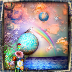 Fotorolgordijn Imagination Fairy tales seaside with rainbow