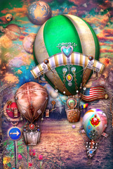 In de dag Imagination Steampunk hot air balloons in flight on a sky full of clouds