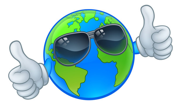 An earth globe world cartoon character mascot wearing shades or sunglasses and giving a thumbs up
