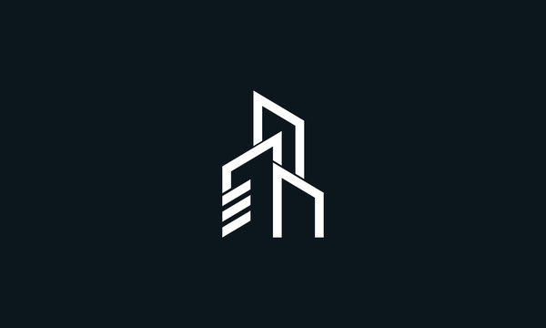 Elegant minimal line art Building logo. This logo icon incorporate with  abstract rectangle shape in the creative way.