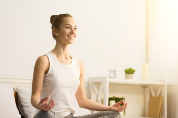 Deurstickers Ontspanning Happy woman doing anti-stress yoga in morning