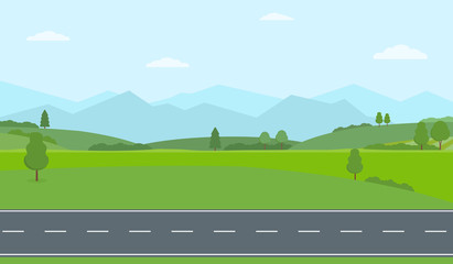 Straight empty road through the countryside. Green hills, blue sky, meadow and mountains. Summer landscape vector illustration. - fototapety na wymiar