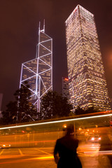 Hong Kong, China - Motion blur of traffic in front of modern buildings at Admiralty district.