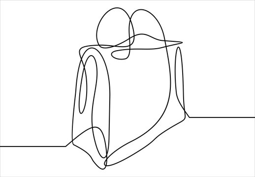 One continuous line drawing.Package for shopping.Paper bag. shopping bag.